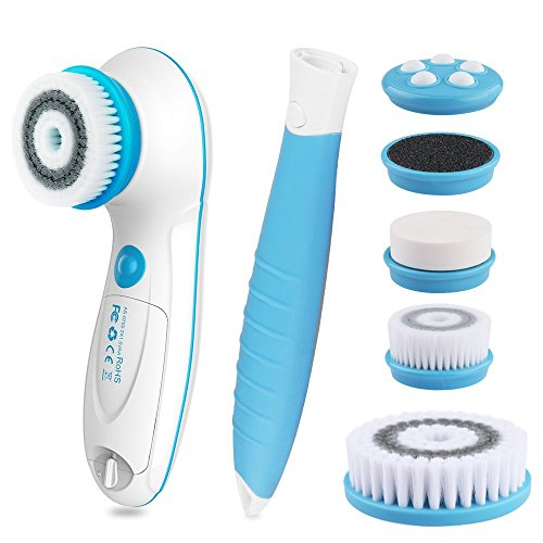 6 in 1 Waterproof Electric Facial & Body Cleansing Brush with 2 Speeds Setting for Skin Care,...