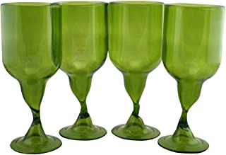 Wine Glasses Made From Recycled Bordeaux Wine Bottles 7 OZ - set of 4 (Dark Green, 7.5 Oz)
