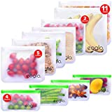eoglo Food Grade Reusable Storage Bags (11 Pack) | 2 Xlarge Gallon Size + 5 Large Sandwich Size + 4 Snack Size| Freezer Safe | Extra Thick | Plastic & Silicone Free| LeakProof