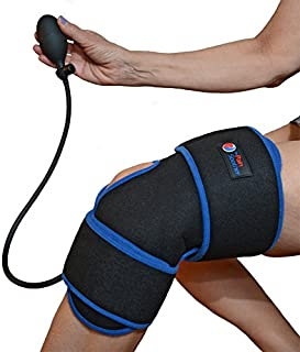Reusable Ice Pack for Knee - Cold Therapy Compression Wrap with Air Pump for Pain Relief - Long Cooling Retention Gel Pack - Inflatable Knee Brace for Sprains, Swelling & Sports Injuries (Black)