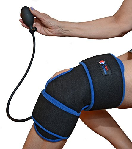 Reusable Ice Pack for Knee  Cold Therapy Compression Wrap with Air Pump for Pain Relief  Long Cooling Retention Gel Pack  Inflatable Knee Brace for Sprains Swelling amp Sports Injuries Black