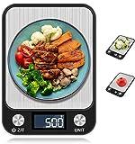 JORSHIMAN Báscula Electrónica de Cocina para Cocinar, Báscula de Cocina, Digital de Precisión Hornear - Color Negra, Pesaje: 1 g - 5 kg (g/kg/TL/LB/oz/ml/m), Tamaño Grande - 22.5x16.5cm