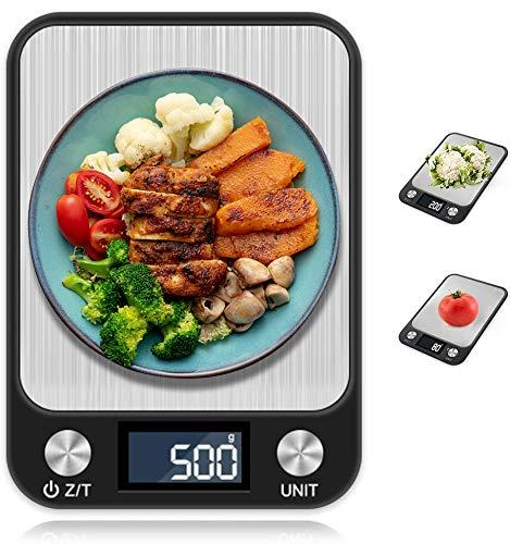 nuosife Balances de Cuisine, Balance de Cuisine Numérique, Acier Inoxydable Tactile Écran Sensible, LCD Moniteur, Auto-arrêt - Couleur Noir, Pesage: 1 g - 5 kg (g/kg/TL/LB/oz/ML/m)