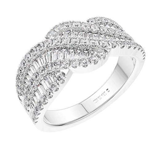 F/VS, Anillo de vestir de oro blanco con diamantes de corte brillante redondo y baguette de 1,51 quilates