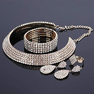 Crystal Bridal Jewelry Sets Silver Color Rhinestone Necklace Earrings Bracelet Ring Wedding Engagement Jewelry Sets For Women Gold Resizable