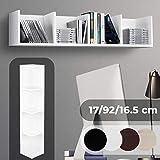 Étagère pour CD - Pour 80CDs, 17x92x16,5cm, 4 Compartiments, en Bois, Blanc -...
