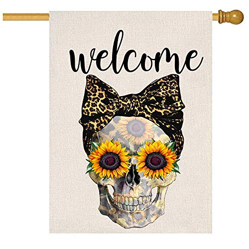 MFGNEH Welcome Skull Halloween Decorations Garden Flag Vertical Double Sided 28×40 Inch Fall Yard Decorations Outdoor Burlap Flag