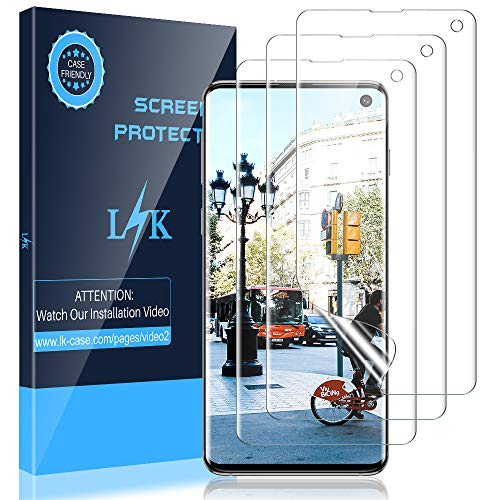 LK [3 Pack] Screen Protector for Samsung Galaxy S10, (Ultrasonic Fingerprint Compatible) (Flexible Film) HD Clear, Anti-Scratch, Bubble Free