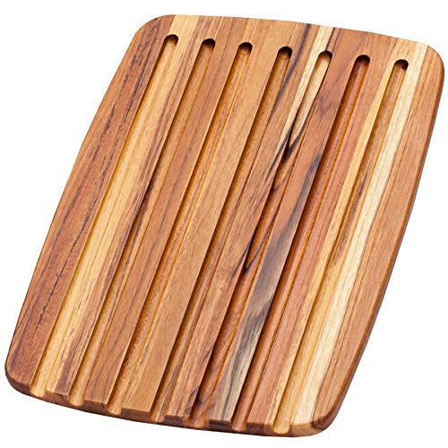 Teak Cutting Board – Rectangle Serving Board With Juice Canals (16 x 11 x .55 in.) - By Teakhaus