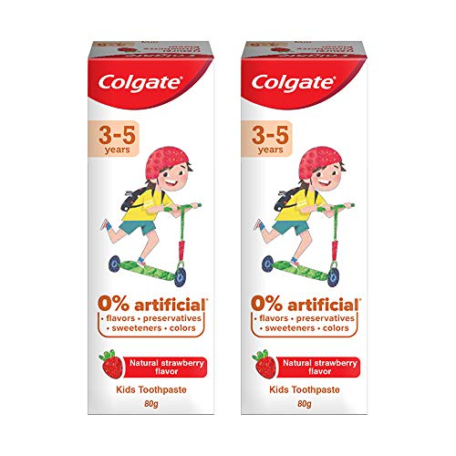 Colgate Kids Anticavity Toothpaste for 3-5 Years, 160g (80g x 2), Natural Strawberry Flavour, 0% Artificial Substances, SLS Free