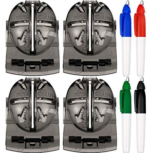 Tatuo 4 Stücke Golfball Alignment Tool Liner Kugelmarkierung Clips und 4 Stücke Golfball Markierungs Feder (Grau)