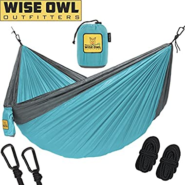 Wise Owl Outfitters Hammock for Camping - Single & Double Hammocks Gear For The Outdoors Backpacking Survival or Travel - Portable Lightweight Parachute Nylon DO Blue & Grey