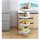 Carrito de almacenamiento con ruedas y asas para cuarto de baño, cocina, móvil, color blanco, tamaño: 34 x 42 x 107 cm