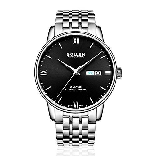 XINLEE Herrenuhren automatische mechanische Zeiger Digitalanzeige Lederband Wasserdichte mechanische Uhr, 002