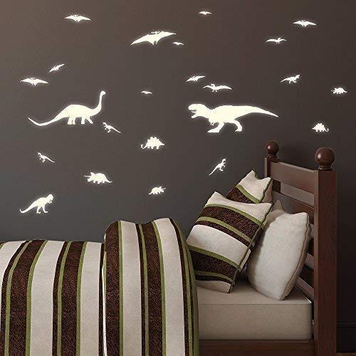 """Wandtattoo-Loft """"Leuchtaufkleber Dinosaurier 20teilig"""" - Fluoreszierende Aufkleber -Selbstklebende Wandsticker, ideal für Kinderzimmer und Schlafzimmer!"""