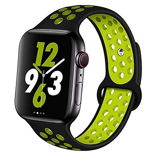 AISHANG Correa Deportiva para Apple Watch Band 4 5 44Mm 40Mm Correas 42Mm 38Mm para Iwatch Bracelet Series 5/4/3/2/1 Correa De Caucho De Silicona, China, Negro Amarillo 11