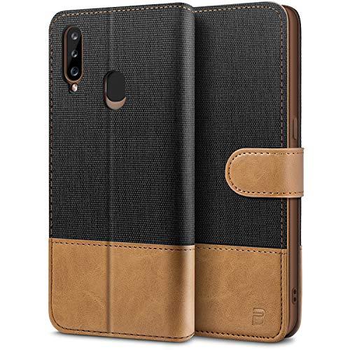 BEZ Handyhülle für Samsung A20s Hülle, Tasche Kompatibel für Samsung Galaxy A20s, Schutzhüllen aus Klappetui mit Kreditkartenhaltern, Ständer, Magnetverschluss, Schwarz