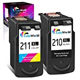 ColoWorld Remanufactured 210XL Ink Cartridge Combo Pack Replacement for Canon PG-210 XL 210XL CL-211 XL 211XL (1 Black + 1 Tri-Color) Used in PIXMA MP240 MP480 IP2702 MP495 MX410 MX340 Printer