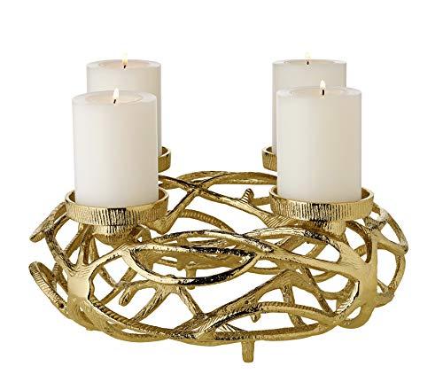 EDZARD Adventskranz Bernd, Aluminium vernickelt, goldfarben, Durchmesser 29 cm, für Kerzen Ø 6 cm, moderner Kerzenhalter, perfekt für Cornelius Kerzen, individuell dekorierbar
