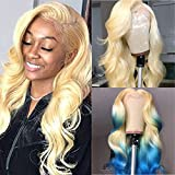Mydiva 613 Lace Front Wig Blonde Human Hair Lace Front Wig Brazilian Virgin Hair with Body Wave Pre-plucked for Black Women Frontal Lace Body Wave Wigs 150% Density (18 inches, 613)