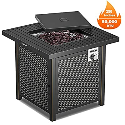 Propane Fire Pit Table, TACKLIFE Outdoor Companion, 28 Inch 50,000 BTU Auto-Ignition Gas Fire Pit Table with Cover, CSA Certification and Strong Striped Steel Surface, Table in Summer, Stove in Winter
