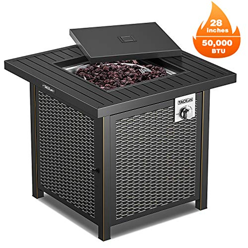 Buy Bargain TACKLIFE Propane Fire Pit Table, Outdoor Companion, 28 Inch 50,000 BTU Auto-Ignition Gas...