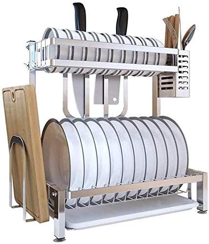 Secador de vajillas Productos de cocina 2 Capa 2 Secadora de bandejas, Secadora de vajillas, Tendedero portátil y placa de corte,Silver