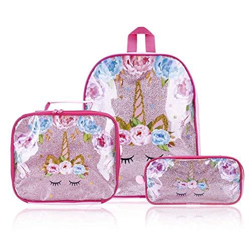 HasiDun levendig en geweldig in stijl Kids Eenhoorn Pak Bag Kinderen Glitter verlegen Eenhoorn Rugzak Lunch Bag Pen Bag Student Flower Eenhoorn Schooltas Kids Rewards Gift in fijne stijl