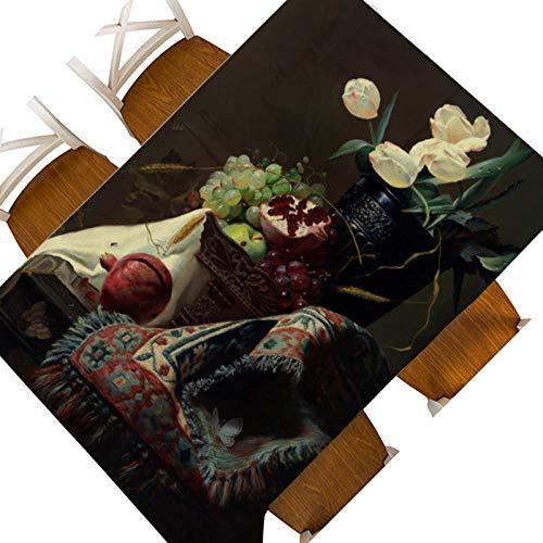 Mantel Rectangular 137x185cm PVC Impermeable Antimanchas Durable Lavable Manteles Granada de Fruta Negra Impresos Adecuado para Decorar Cocina Comedor Salón