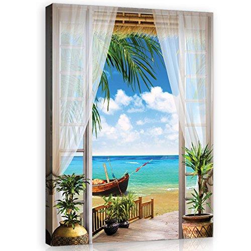 Welt-der-TräumeWANDBILD CANVASBILD Wandbild Leinwandbild Kunstdruck Canvas | Ausblick | O1 (100cm. x 75cm.) | Canvas Picture Print PP11509O1-MS | Ausblick Tropen Fenster Strand Meer Ozean Wasser