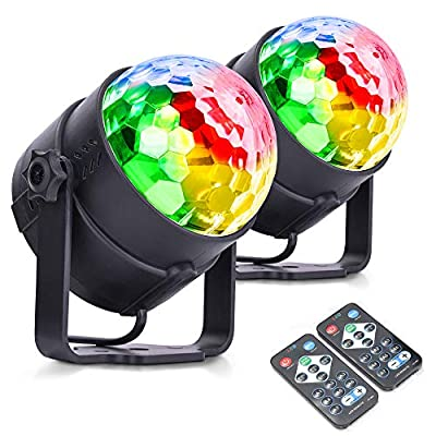 MICTUNING Disco Lights, 6W 6 Colours Music Activated Party Lights with Remote Control for Kids Birthday, Family Gathering, Christmas Party