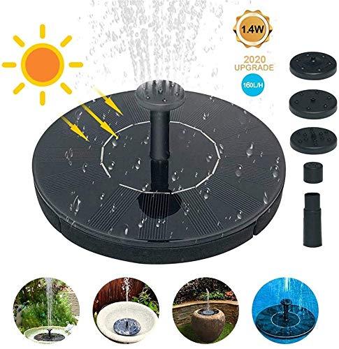 NHMPP Solar Bird Bath Brunnenpumpe, 160L / H Solar Brunnenpumpe Kit, Freistehende Schwimmende Solarbetriebene Wasserfontäne für kleinen Teich Pool Patio Garden (1,4 W)