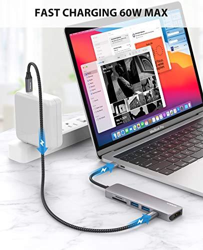 Nimaso USB C Hub, 7-IN-1 USB C Adapter mit 4K HDMI Port, 2 USB 3.0-Anschlüsse, SD/TF-Kartenleser, 60W PD-Stromversorgung, Typ C Hub kompatibel für MacBook Pro, iPad Pro,Laptops und mehr Typ-C-Geräte