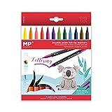 MP - Rotuladores Lettering Doble Punta, Punta Fina y Punta Pincel - 12 Marcadores Multicolor
