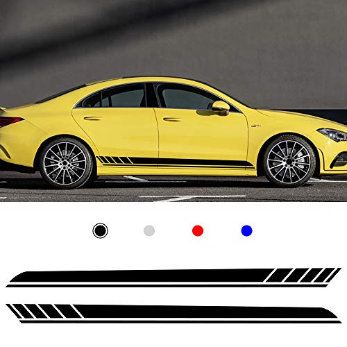 carado Racing Body Side Stripe Skirt Roof Hood Decal Sticker for E90 E60 A4 B8 A5 Vinyl Sport Badge Car Styling Accessories Black 1 Pair