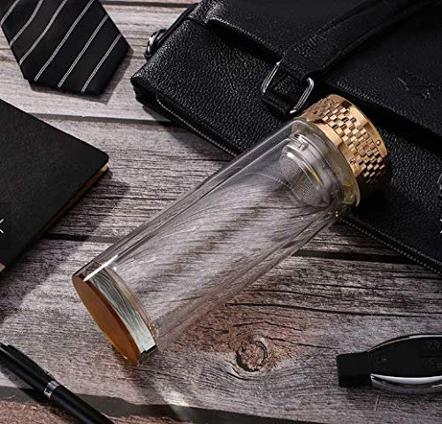 Botella de Agua Vidrio con Filtro, 400ml, sin BPA Reutilizable, ecologico, Termo, infusiones