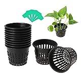 Mengxin 30 Pezzi Vasi per Idroponica con 20 Pezzi Etichette Piante Plastica Vaso a Rete per Idroponico Rete per Coltivazione Nero per Forniture di Coltura Idroponica