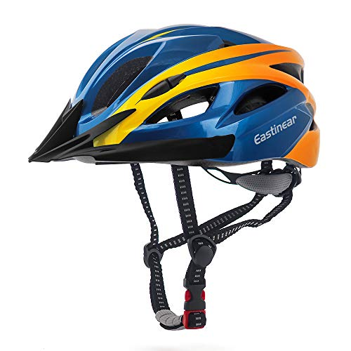 EASTINEAR Casco Bicicleta con Visera para Hombre Adulto Mujer Casco Bicicleta con Luz de Seguridad LED Cascos Ciclismo de Montaña y Carretera Tamano Ajustable M/L 22.8-24.4in (Naranja Azul)