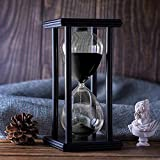 Hourglass Timer with Black Sand, 60 Minute Wooden Frame Sand Timer, Creative Handcraft Decoration