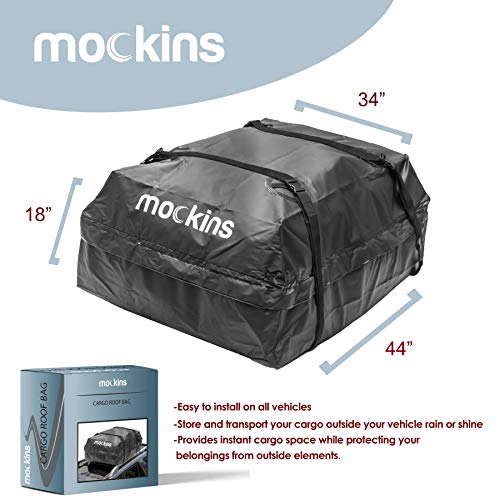 Mockins Waterproof Cargo Roof Bag | The Car Top Carrier Bag is Made from Heavy Duty Abrasion Resistant Vinyl and is 44 Long X 34 Wide X 18 High Giving You 15 Cu.ft.Capacity ... ... ... ... ... ...