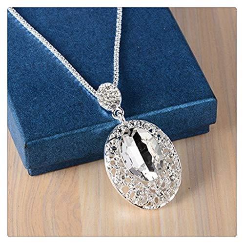Collar largo con colgante de oro rosa y plata para mujer, cadena de piedra de cristal grande, regalo sin cuello para decoraciones de niñas (color del metal: plata blanca)