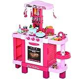 homcom Cucina Giocattolo per Bambini con 38 Accessori Inclusi, Gioco con Luci e Suoni Realistici, 78x29x87cm, Rosa