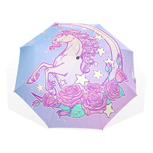 ISAOA Paraguas de viaje automático, paraguas plegable, polilla pastel, unicornio, resistente al viento, ultra ligero, protección UV, paraguas compacto, asa para fácil transporte para mujeres y hombres