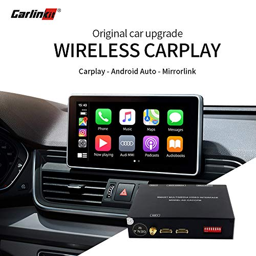 Carlinkit Wireless Carplay Android Auto Mirroring Receiver Box Retrofit Kit Decoder para Audi A3/S3(13-18), A4/A5/S4/S5/Q5/Q7(09-18), A6/A7/S6/S7/C6/C7/C8(09-18), Q3/A1(13-18)