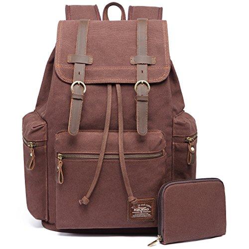 Vintage Rucksäcke,Kaukko Canvas Laptop Rucksack Damen Herren Schulrucksack Daypack Stylisch Backpack für Outdoor Wanderreise Camping mit Großer Kapazität (Kaffee 702-1)