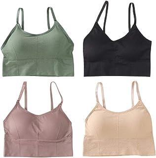 KESYOO Top esportivo respirável com decote em V, kit com 3 peças, roupa íntima fitness feminina (tamanho único, branco, am...