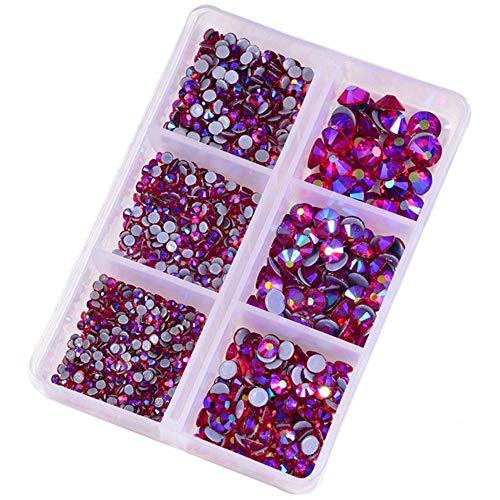 1200pcs/caja mezcla tamaño cristal caliente fijación Rhinestone стразы de la parte posterior plana de cristal de piedra de estrás para la decoración DIY B3950-Lt.Siam