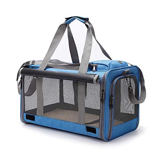 Opetdo - Bolsa de transporte para gato, perro, bolso de mano, bandolera extraíble, lavable, plegable, transpirable, para gatos, pequeños perros, conejos, animales de compañía (azul)
