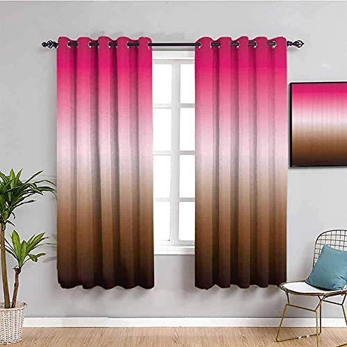 LWXBJX Blackout Curtains for Bedroom - Gradient Simple Purple Brown - 3D Print Pattern Eyelet Thermal Insulated - 79 x 84 inch - 90% Blackout Curtains for Kids Boys Girls Playroom