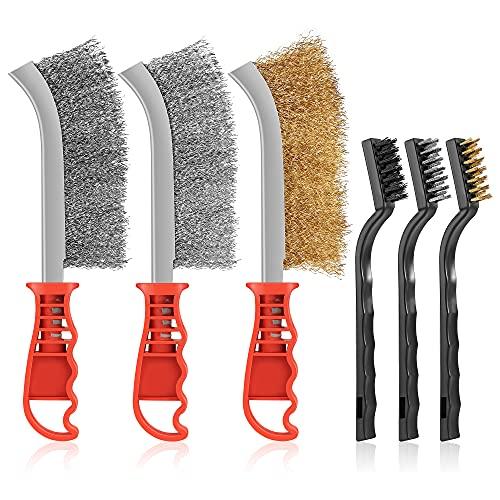 DazSpirit 6Pieces Cepillos de Alambre, Cepillo de Puas Metalicas de Mano Nailon y Latón de Cepillo Acero Inoxidable para Chimenea Limpiar Escoria de Soldadura Madera Eliminación Oxido Quita Cemento